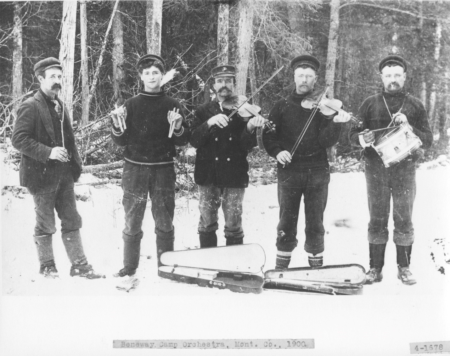 Photo of the Beneway Camp Orchestra, Montmorency County, MI, 1900