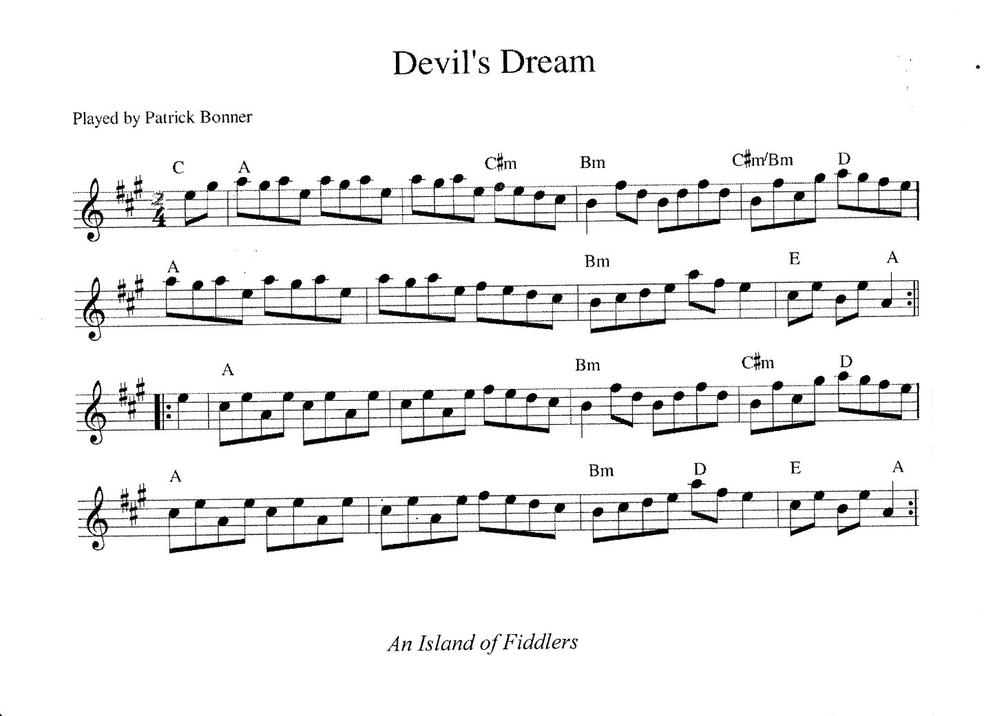 Transcription from An Island of Fiddlers by Glenn Hendrix.