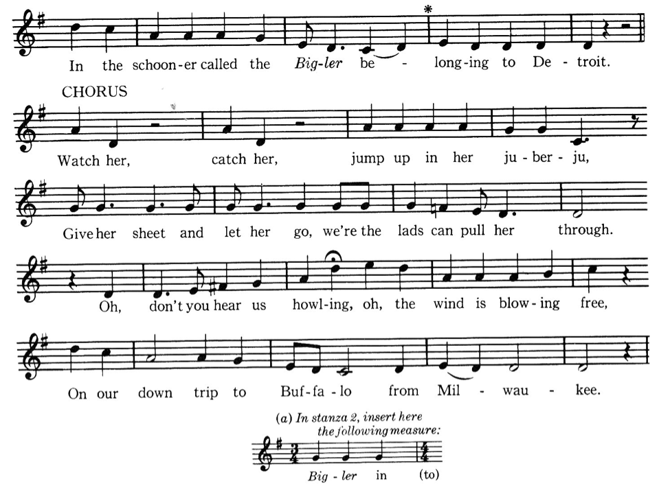 "Transcription of ""The Bigler"" from Our Singing Country, Verse 2."